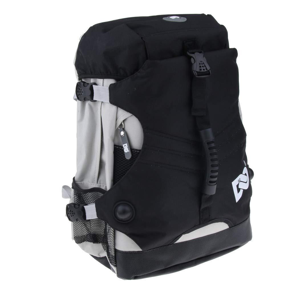 Baosity Roller Inline Skates Backpack Skating Shoes Boots Storage Carry Bag - Black, 45x32x18cm