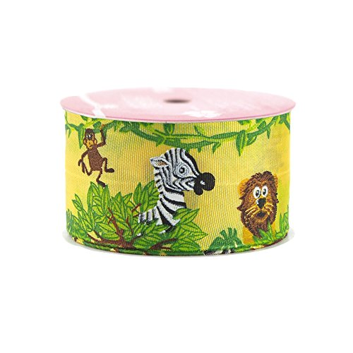 Homeford FMX0000037640605 Jungle Animals Grosgrain Ribbon Wired Edge, 1-1/2-Inch, Yellow/Green
