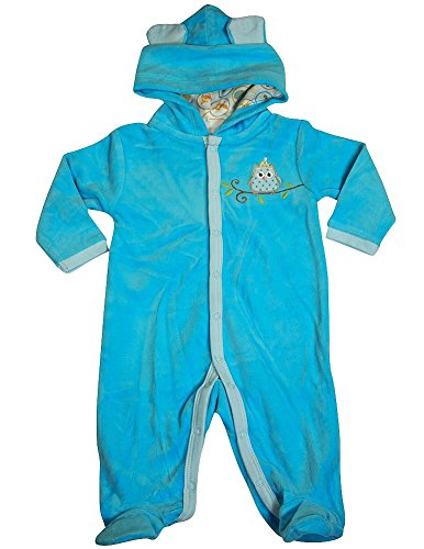 Happi by Dena - Baby Boys Long Sleeve Footed Velour Coverall, Blue 34838-6-9Months