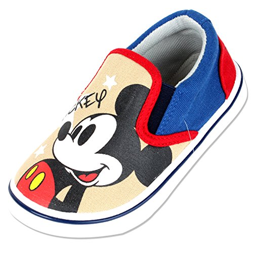 Joah Store Kids Boys Girls Mickey Mouse Slip-on Comfy Fashion Casual Sneakers Beige Red Blue Shoes (9.5 M US Toddler, Mickey Mouse) ()