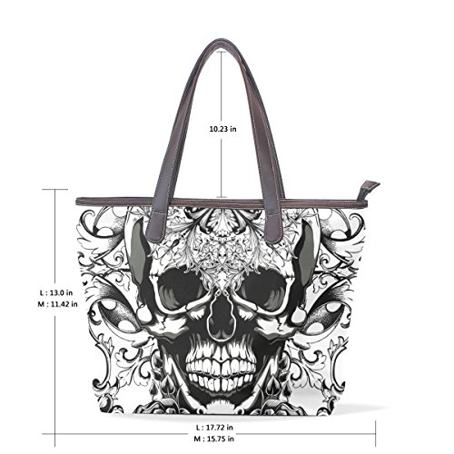 Punk Skull Women's Fashion Large Tote Shoulder Bag Ladies Handbag by CoolPrintAll