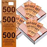 Tiger Chef Coat Check Tickets, 3-Pack Orange Colored Paper Coat Room Check Tags, Tickets 3-Part, 500 Per Box