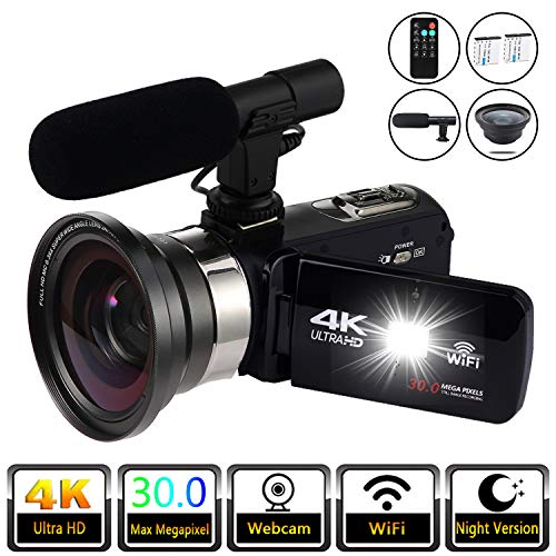 Video Camera Camcorder Vlogging Camera 4K Digital Camcorder Video Recorder YouTube Vlogging WiFi Camera 30.0MP Webcam for Live Streaming KOMERY Video Camera 16X Digital Zoom with Remote Control