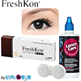 FreshKon Alluring Eyes Mystical Black Color Daily Contact Lens with Free Lens Care Kit-(10 Lens Pack)