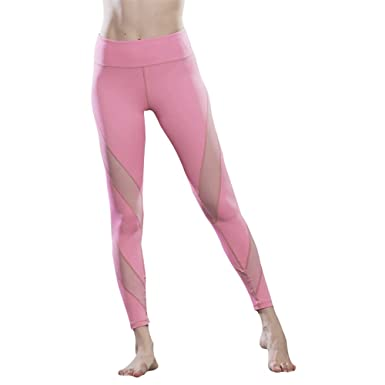 d3a1707cad3a3 FavoBodinn Pink Yoga Pants Fitness Workout Leggings with Mesh Stitching S