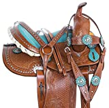 AceRugs Western Saddle TACK Set Headstall REINS Breast Collar Premium Leather Crystal Show Youth Kids Size 12″ 13″ 14″