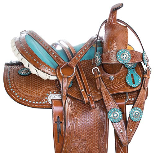 AceRugs Youth Child Size Pink Purple Blue Black Crystal Western Barrel Racing Kids Western Leather Horse Pony Saddle TACK Set Package (Turquoise, 13)