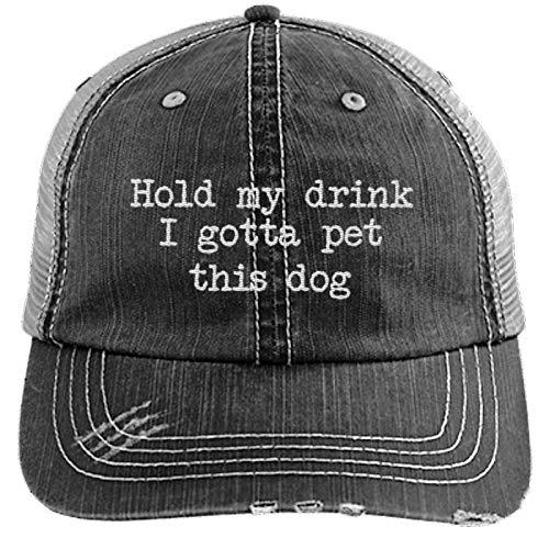 PIRDA Hold My Drink I Gotta PET This Dog Distressed Trucker Cap Black