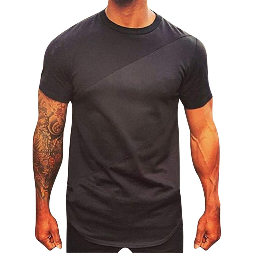 Summer T Shirts,Personality Men's Summer Autumn Short Sleeved Plaid T Shirt Top Pullover Blouse,Black,L