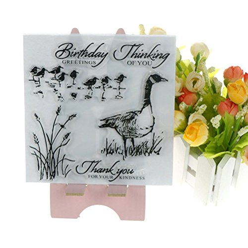 Dengguoli Wild Ducks and Reeds Transparent Clear Silicone Stamp Diary Scrapbooking Card DIY Decor