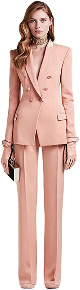 Women's Peak Lapel 3 Button Jacket Pant Suit Business Suit Wedding Suit
