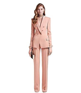 Wedding Suits For Women.Amazon Com Women S Peak Lapel Pink Business Suits 2 Pieces Double
