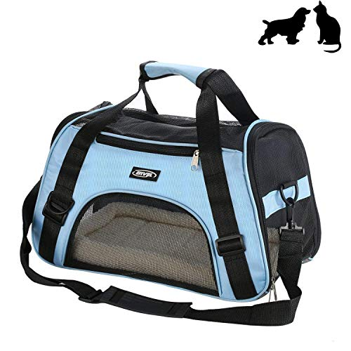 Soft-Sided Pet Carrier, Low Profile Travel Tote with Cozy and Soft Dog Bed, Portable, Collapsible, Airline Approved, Travel Friendly (Small Carrier)
