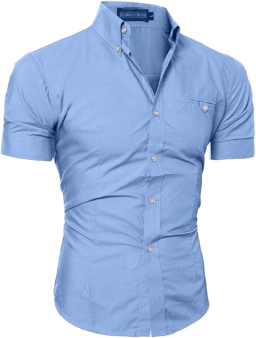 Cromoncent Men Casual Lapel Work Office Short Sleeve Pure Colour Button-Down Shirts