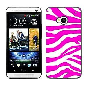 TECHCASE**Cubierta de la caja de protección la piel dura para el ** HTC One M7 ** Zebra Pattern Pink Purple Wallpaper Random