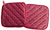 "Custom & Durable {9"" Inch Each} 2 Set Pack of Mid Size ""Non-Slip"" Pot Holders Made of Cotton for Carrying Hot Dishes w/ Handmade Quilted Cola Soda Symbol Style [Red & White]"