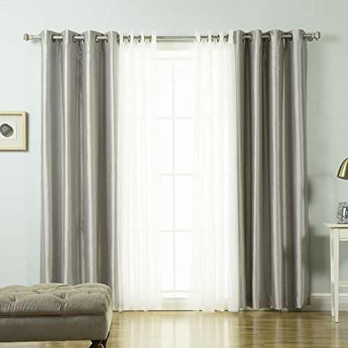 Best Home Fashion Tulle Lace & Faux Silk Blackout Curtain Set - Stainless Steel Nickel Grommet Top - Grey - 52