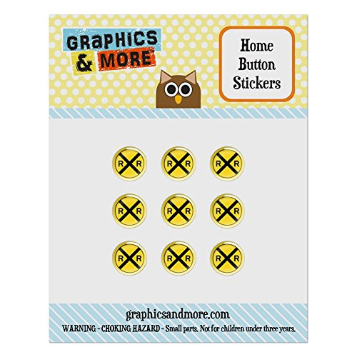 Set of 9 Puffy Bubble Home Button Stickers Fit Apple iPod Touch, iPad Air Mini, iPhone 4/4s 5/5c/5s 6/6s Plus - Symbols - Railroad Crossing Traffic Sign Train