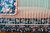Flora Coral and Navy Crib Bedding Set- Flora Blue