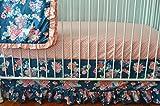 Flora Coral and Navy Crib Bedding Set- Flora Blue