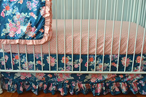 Flora Coral and Navy Crib Bedding Set- Flora Blue by Soren by Angelique