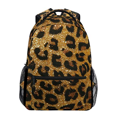 ALAZA Animal Leopard Print Glitter Sequins Chic Stylish Large Backpack Personalized Laptop iPad Tablet Travel School Bag with Multiple Pockets for Men Women College