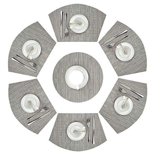 PAUWER Silver Grey Wedge Placemats Set of 6 with Centerpiece for Round Dining Tables Heat Resistant Woven Vinyl PVC Round Table Placemats Wipe Clean