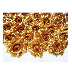"24 Silk Gold Roses Flower Head - 1.75"" - Artificial Flowers Heads Fabric Floral Supplies Wholesale Lot for Wedding Flowers Accessories Make Bridal Hair Clips Headbands Dress 67"