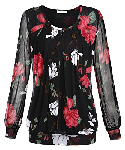 BAISHENGGT Women's Long Sleeve Pleated Front Mesh Blouse Medium Black Floral by BaiShengGT