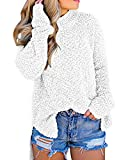Imily Bela Womens Fuzzy Knitted Sweater Sherpa Fleece Side Slit Full Sleeve Jumper Outwears White: more info