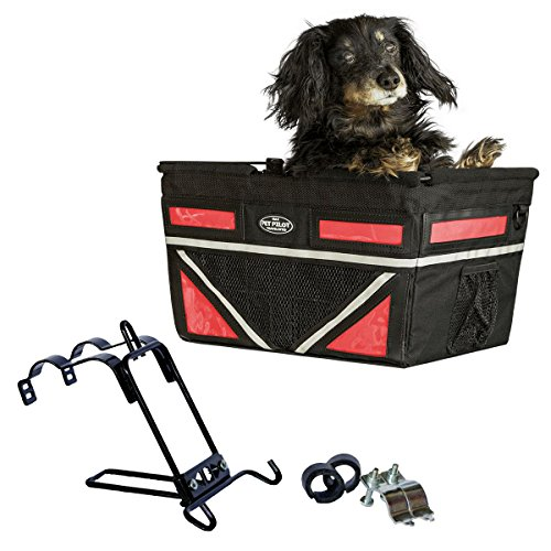 Travelin K9 Pet-Pilot MAX Dog Bicycle Basket Carrier | 2019 Model with 9 Color Options for Your Bike (Cherry RED) ()