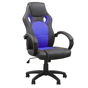MCTECH Silla de Oficina Racing Gaming Sillón Lujo De Juego Apoyabrazos Silla Escritorio Altura Ajustable (Negro-Azul, Tipo A)