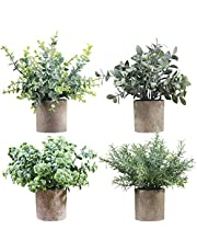 Artigreen Faux Mini Plants Indoor Artificial Potted Small Plastic Eucalyptus Plants ,Fake Topiary Shrubs Greenery for Room Decor Home Office Desk Table Decorations,Exquisite New House Gift