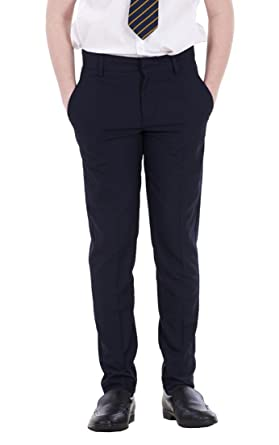 c084c526426 Boys ex BHS Slim Fit Skinny Grey Adjustable Waist Black School Trousers