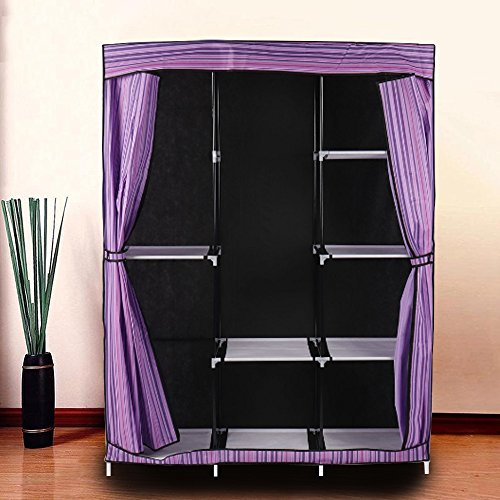 Corner Armoire Wardrobe Closet Portable Storage Organizer Clothes Shoe Rack with Shelves Quick and Easy Installation Front Zipped Door Can Be Rolled Up or Tied Back for Your Convenience Fabric Plasti by Indipartex