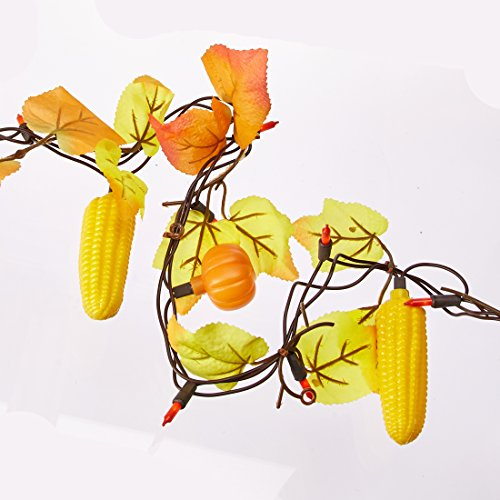Darice Maple Leaf Garland with Faux Pumpkins and Corn - 50 Orange Bulbs on Brown (Halloween Garland For Mantle)