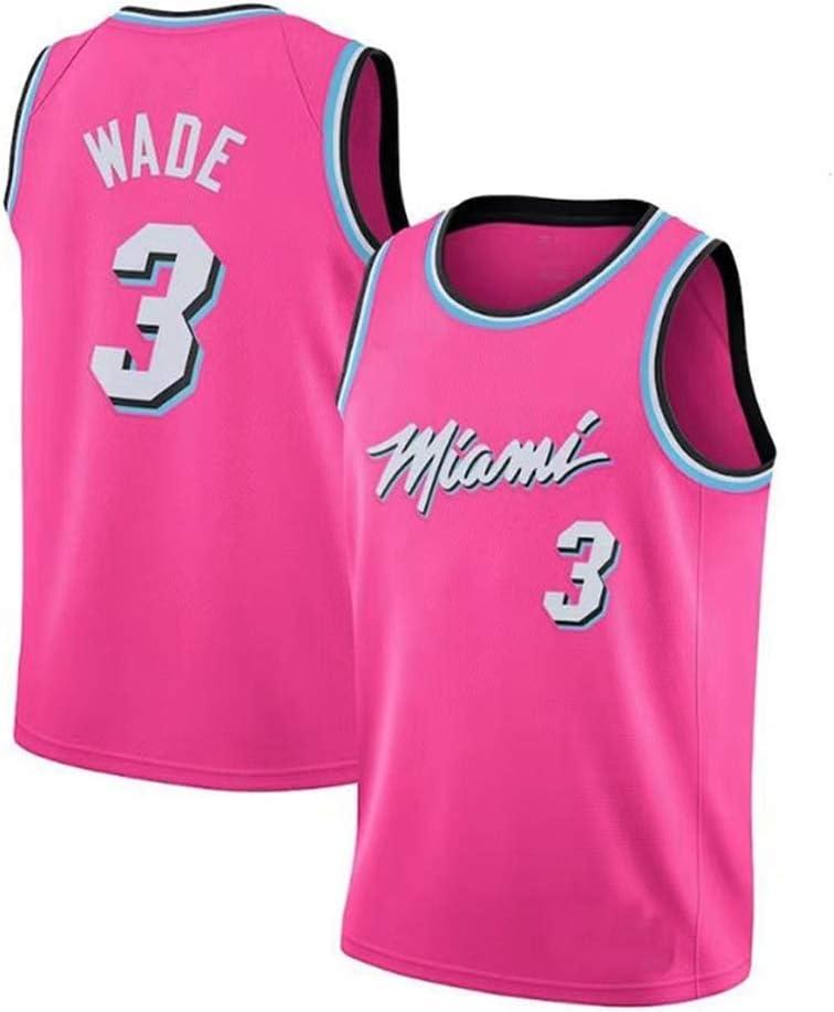 Jinyiming Malla de Baloncesto Swingman Jersey Transpirable Baloncesto Chaleco Mierda Tops Deportes Dwyane Wade # 3 de la NBA Miami Heat