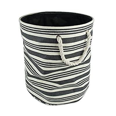 "DII, Woven Paper Bin, Collapsible and Convenient, Round, 13.75x13.75x17"", Black Urban Stripe - MEDIUM ROUND STORAGE BINS - 13.75x13.75x17"", Constructed of woven paper with a sturdy base and soft cotton rope handles knotted through grommets, holds up to 30 lbs ALWAYS TRENDY & STYLISH - These bins are available in fun, trendy and adorable styles and colors, a perfect addition to a nursery, home office, craft room, or to add a splash of color to any room while also being functional ORGANIZATIONAL SOLUTION FOR THE HOME - Find a place for knick knacks, children's' toys, magazines, craft supplies, and more with these sturdy, everyday bins that can be tucked away in closets, side tables, under beds, left out in the open to enhance decor, or on a shelf - living-room-decor, living-room, baskets-storage - 51i8gUu 5WL. SS400  -"