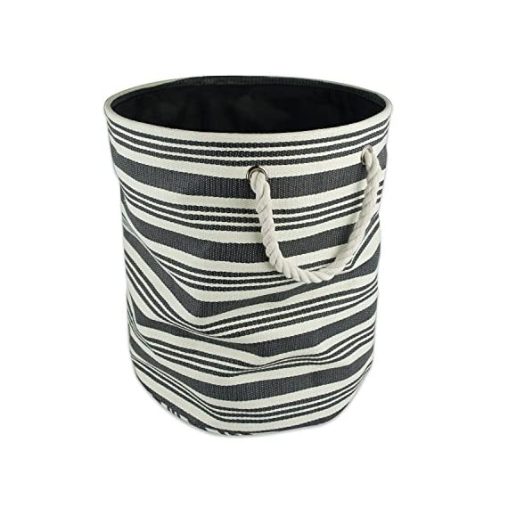 "DII Woven Paper Storage Bin/Basket Collapsible & Convenient with Durable Cotton Handles Medium Round Urban Black - MEDIUM ROUND STORAGE BINS - 13.75x13.75x17"", Constructed of woven paper with a sturdy base and soft cotton rope handles knotted through grommets, holds up to 30 lbs ALWAYS TRENDY & STYLISH - These bins are available in fun, trendy and adorable styles and colors, a perfect addition to a nursery, home office, craft room, or to add a splash of color to any room while also being functional ORGANIZATIONAL SOLUTION FOR THE HOME - Find a place for knick knacks, children's' toys, magazines, craft supplies, and more with these sturdy, everyday bins that can be tucked away in closets, side tables, under beds, left out in the open to enhance decor, or on a shelf - living-room-decor, living-room, baskets-storage - 51i8gUu 5WL. SS570  -"