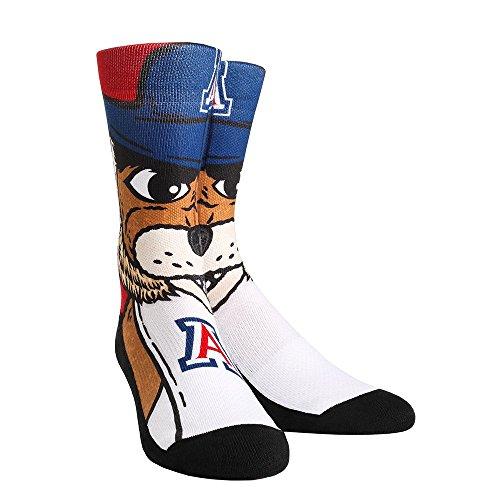 NCAA Arizona Wildcats Wilbur Mascot University Custom Athletic Crew Socks, Small/Medium, White