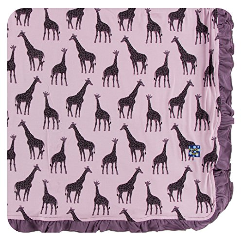 Kickee Pants Little Girls Print Ruffle Toddler Blanket - Sweet Pea Giraffe, One Size - Giraffe Toddler Blankets