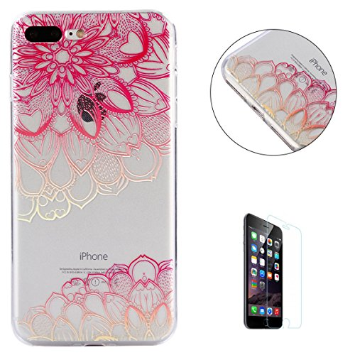 iPhone 7 Plus/8 Plus Case Clear,[Free Screen Protector] KaseHom Premium Soft Silicone TPU Cover Oil Painting Anti-scratch Bumper Rubber Transparent Shell for iPhone 7 Plus/8 Plus,Pink Mandala