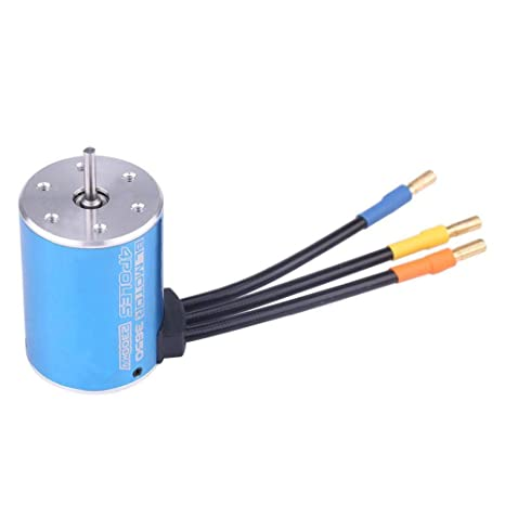 Dilwe RC Car Brushless Motor, Surpass 3650 2300KV Brushless Motor for 1/8  Remote Control RC Car Model Part Accessory