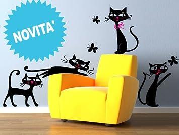 Pegatinas creativos adhesivo Sticker Mural gatitos con mariposas dimensiones 60 x 83 cm | Wall Stickers | pegatinas de pared | Decoración Mural | adhesivo: ...