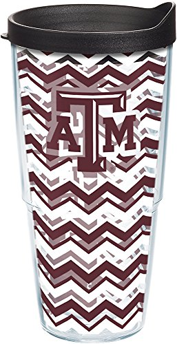 A&m Water Texas Aggies (Tervis 1204992 Texas A&M Aggies Chevron Tumbler with Wrap and Black Lid 24oz, Clear)