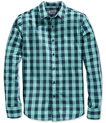 American Rag Mens Check Button Up Shirt, Green, Large