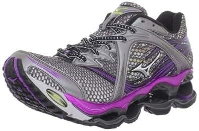 Mizuno Women's Wave Prophecy Running Shoe,Dark Palladium/Silver/Bright Violet,6 W US