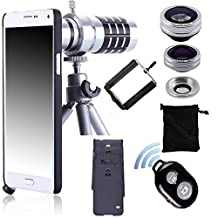 Lens Kit for Samsung, Peyou® Camera Lens Kit For Samsung, 12x Aluminum Telephoto Manual Focus Lens + Fish Eye Lens + 2 in 1 Macro Lens & Wide Angle Lens + Mini Aluminum Tripod + One Universal Phone Holder + Telephoto Lens Holder Ring + Hard Cases for Samsung Galaxy S6 Edge, S7, S7 Edge, Note 5 + Bluetooth Wireless Remote Shutter