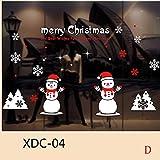 XINDEEK Merry Christmas Wall Sticker Mural Removable Decal Household Room Window Decor, Santa Claus/Snowmen/Elk/Snowflake(D)
