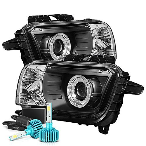 [Built-In Color-Changing RGB LED Low Beam] VIPMOTOZ LED Halo Ring Projector Headlight Headlamp Assembly For 2010-2013 Chevy Camaro - Matte Black Housing, Driver and Passenger Side -